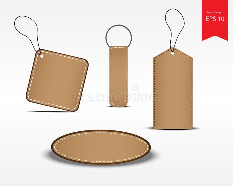 Insieme dei prezzi da pagare del prodotto L'etichetta del cuoio della geometria con cuce royalty illustrazione gratis