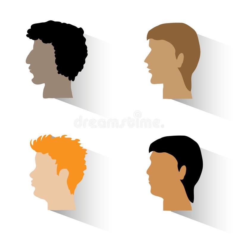 L'insieme di uomo i profili illustrazione vettoriale