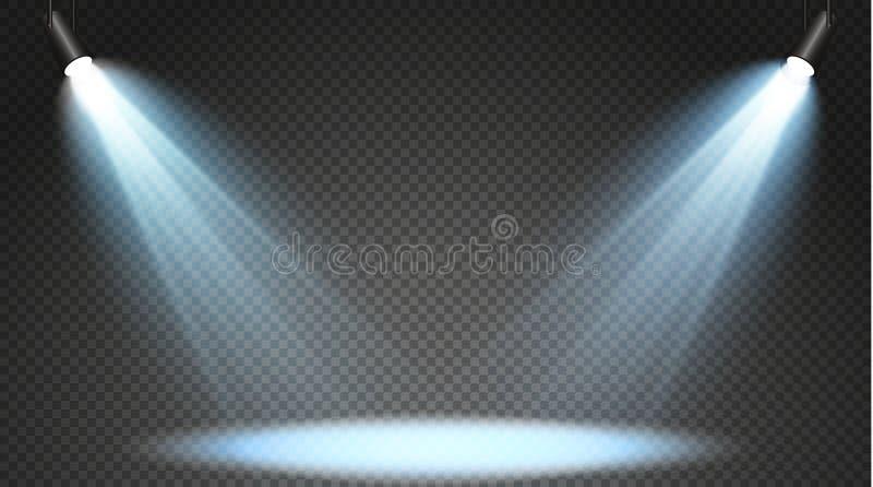 Insieme dei proiettori colorati su un fondo trasparente Illuminazione luminosa con i riflettori Il proiettore è bianco, blu fotografia stock