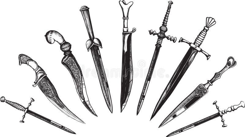 Insieme dei pugnali orientali ed europei royalty illustrazione gratis