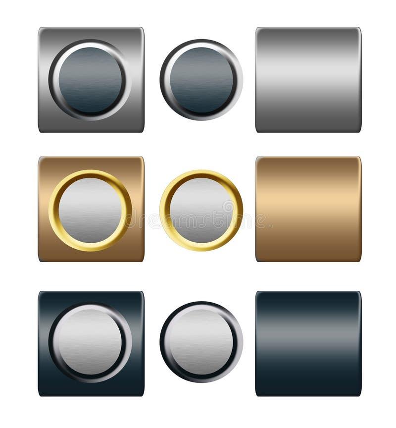 Insieme dei pulsanti dell'oro dell'argento del metallo per il disegno illustrazione vettoriale