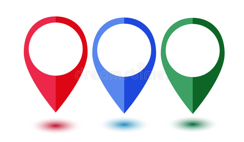 Insieme dei puntatori variopinti della mappa immagini stock libere da diritti