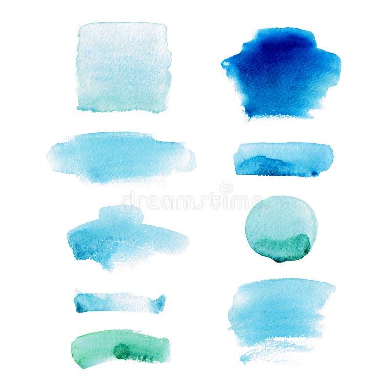Insieme dei punti dell'acquerello nei colori blu e verdi Macchie e raccolta astratte delle chiazze illustrazione di stock