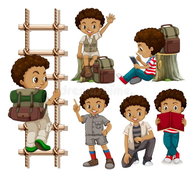 Insieme dei ragazzi abbronzati illustrazione di stock