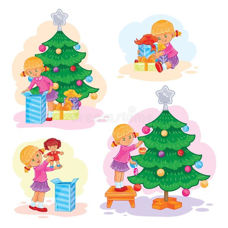 Insieme dei regali di Natale di apertura della bambina delle icone illustrazione vettoriale