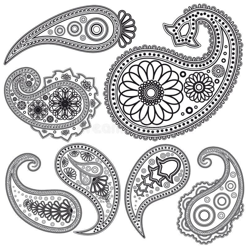 Insieme dei reticoli di Paisley per il disegno. illustrazione vettoriale