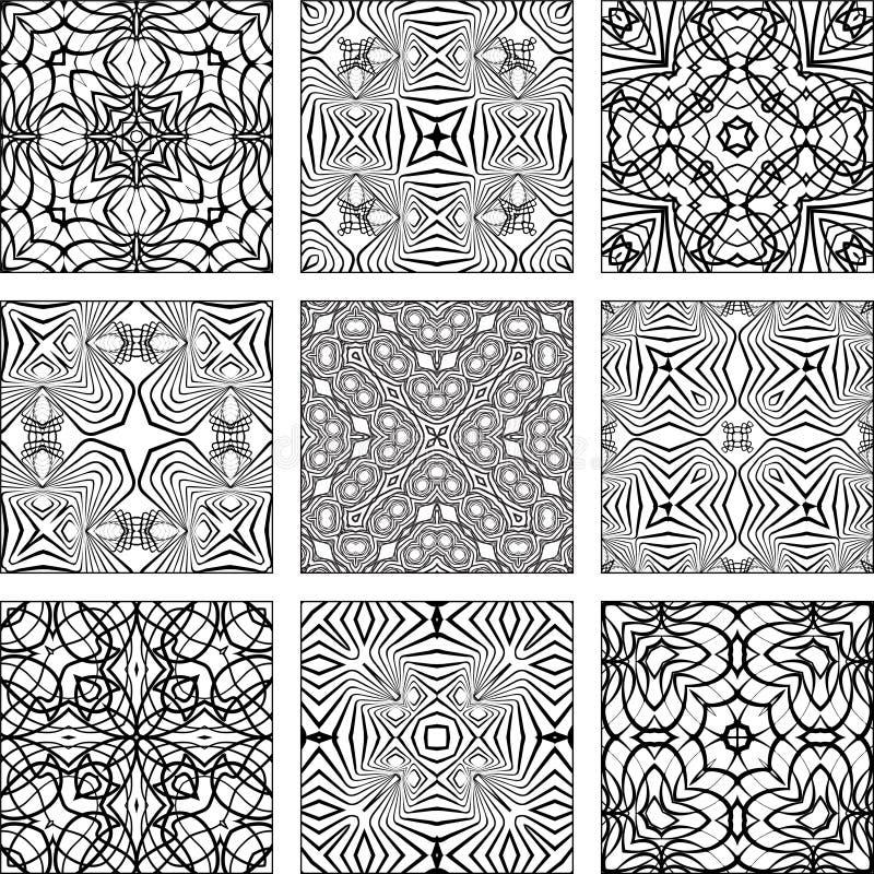 Insieme dei reticoli senza giunte geometrici in bianco e nero royalty illustrazione gratis