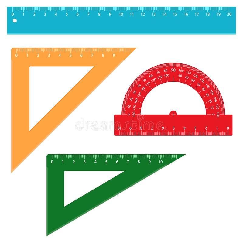 Insieme dei righelli di misurazione della scuola, illustrazione di vettore royalty illustrazione gratis