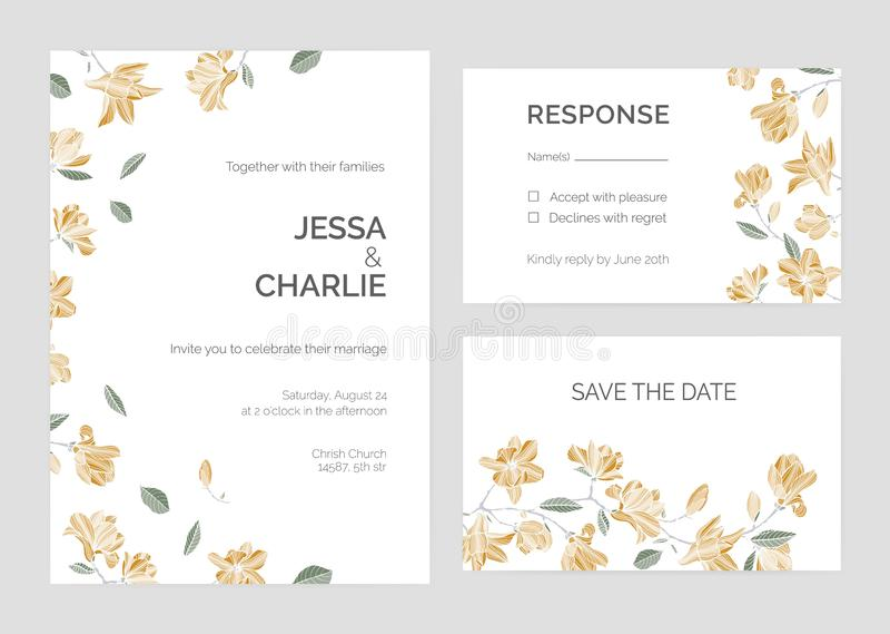 Insieme dei risparmi i modelli della carta di data o dell'invito di nozze con i bei rami di albero della magnolia ed i fiori di f illustrazione di stock