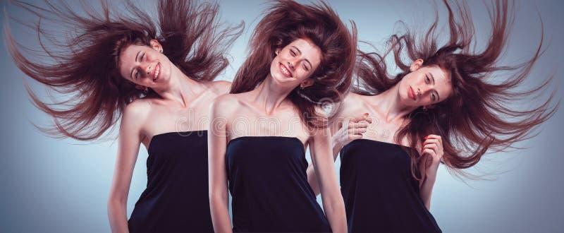 Insieme dei ritratti del ` s della giovane donna con differenti emozioni fotografia stock
