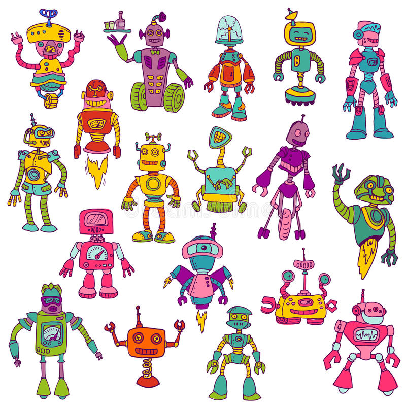 Insieme dei robot - scarabocchi disegnati a mano royalty illustrazione gratis