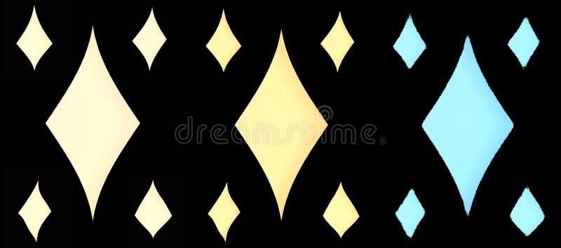 Insieme dei rombi differenti di colori su un fondo nero per la vostra progettazione royalty illustrazione gratis