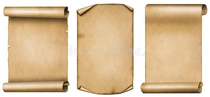 Insieme dei rotoli d'annata o delle pergamene isolati su fondo bianco immagine stock