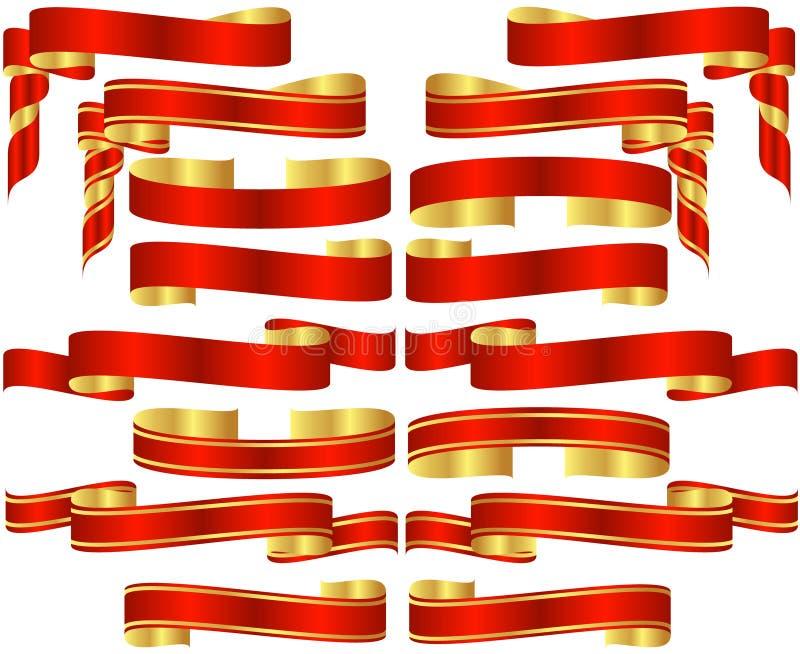 Insieme dei rotoli rossi della bandiera immagine stock libera da diritti