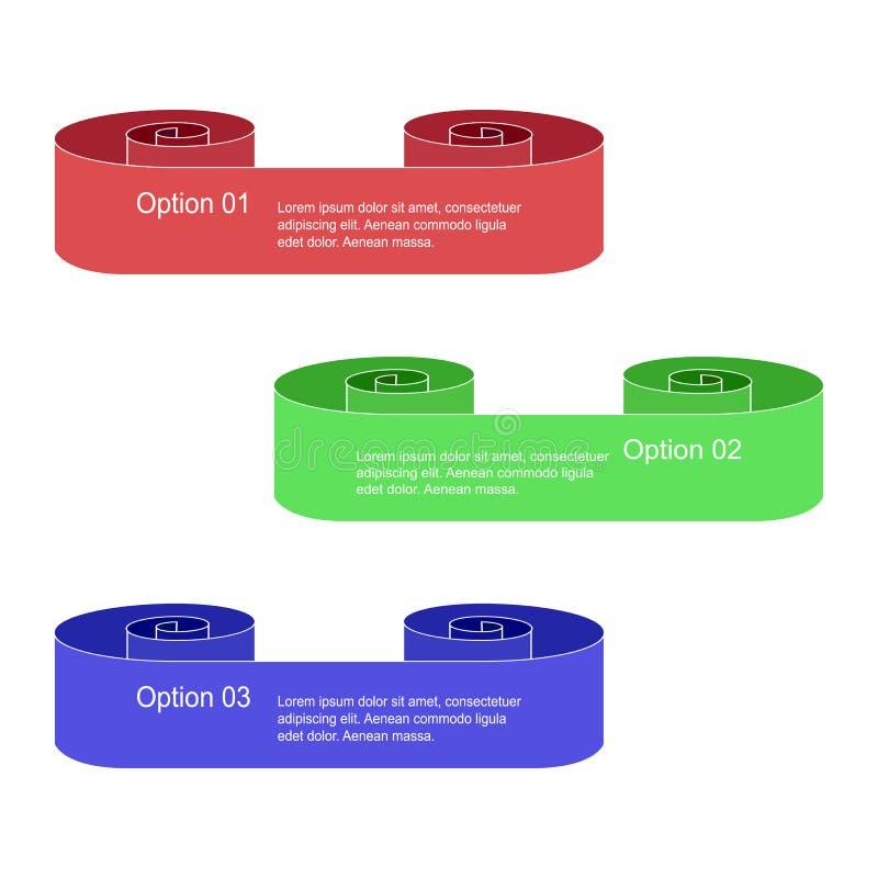 Insieme dei rotoli variopinti di Infographic isolati su bianco Insegne di opzioni del rotolo Modelli per le insegne, i distintivi illustrazione di stock