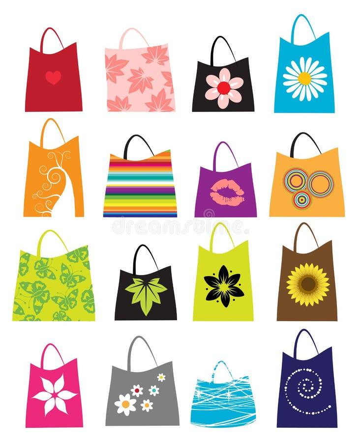 Insieme dei sacchetti di acquisto illustrazione di stock
