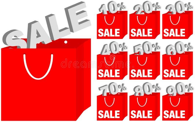 Insieme dei sacchetti di acquisto/icone di vendita illustrazione vettoriale