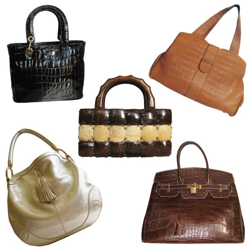 Insieme dei sacchetti di mano del `s della donna fotografia stock