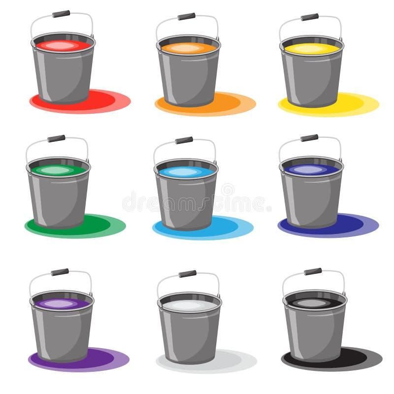Insieme dei secchi con pittura Vernice rovesciata Colore delle icone Isolato su priorità bassa bianca illustrazione di stock