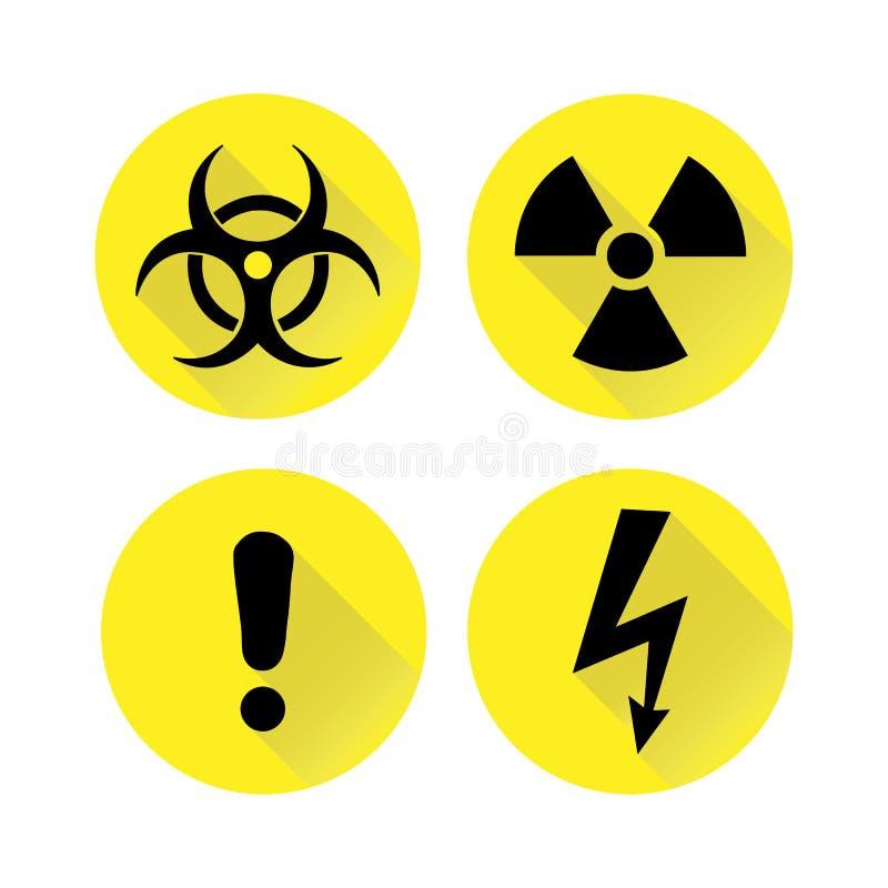Insieme dei segnali di pericolo neri sul giallo, siluette Illustrazione di vettore royalty illustrazione gratis