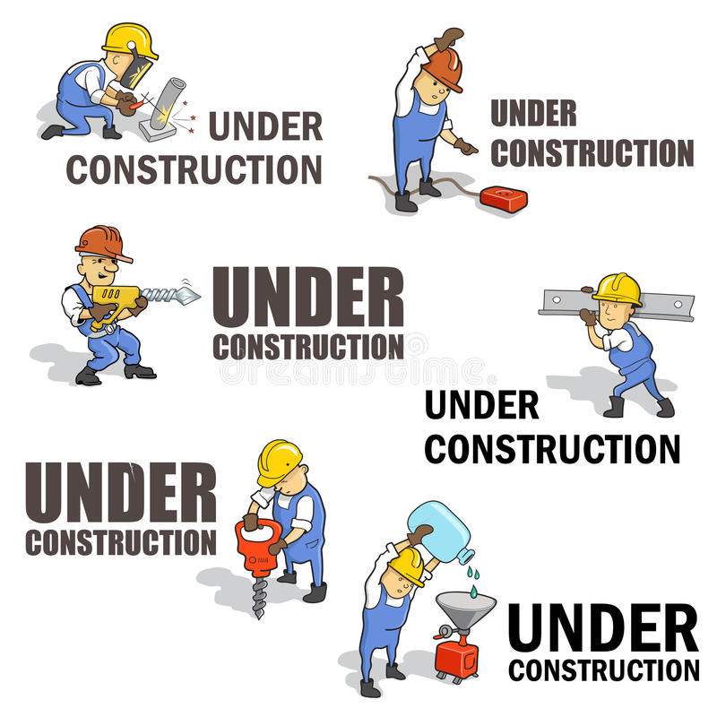 Insieme dei segnali di pericolo Under Construction illustrazione di stock