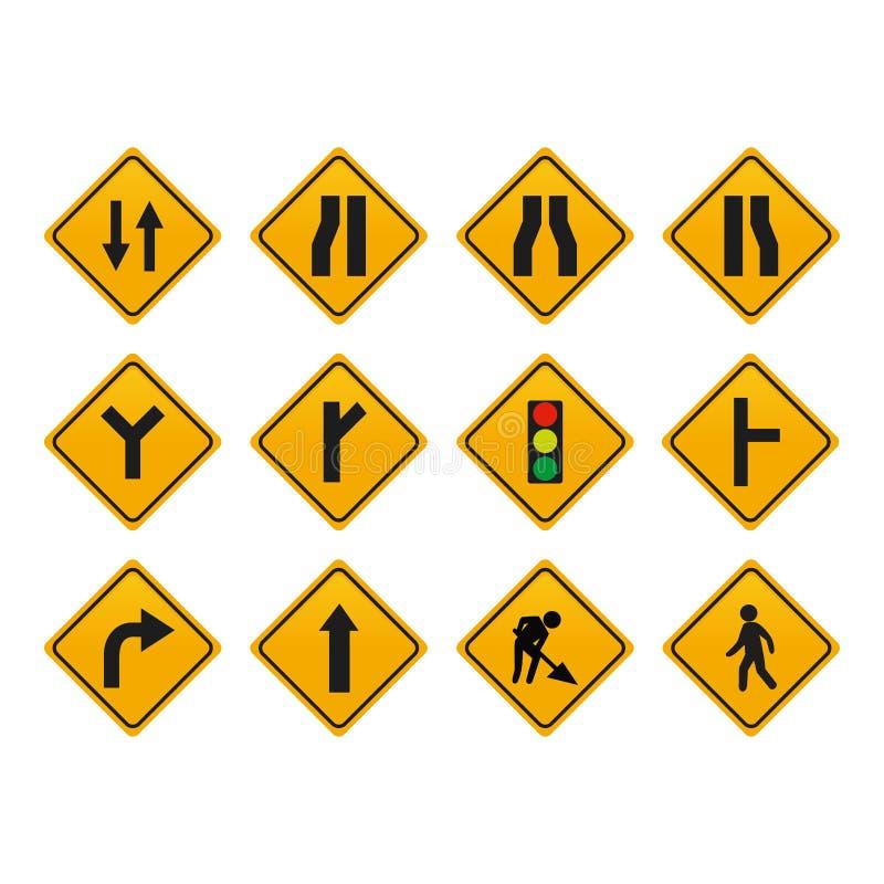 Insieme dei segnali stradali illustrazione di stock