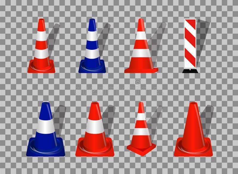 Insieme dei segnali stradali Guardavie arancio e blu del distintivo su transpare royalty illustrazione gratis