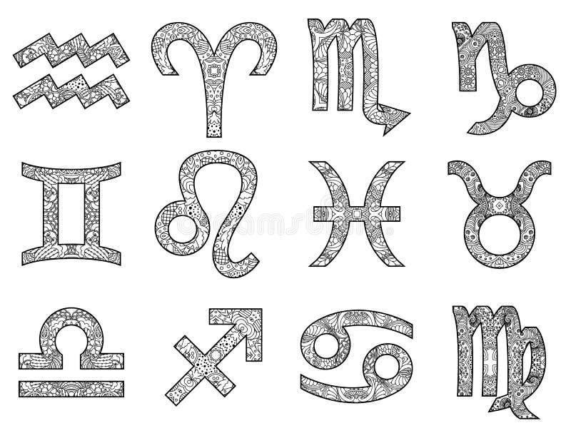 Insieme dei segni in bianco e nero decorativi dello zodiaco royalty illustrazione gratis