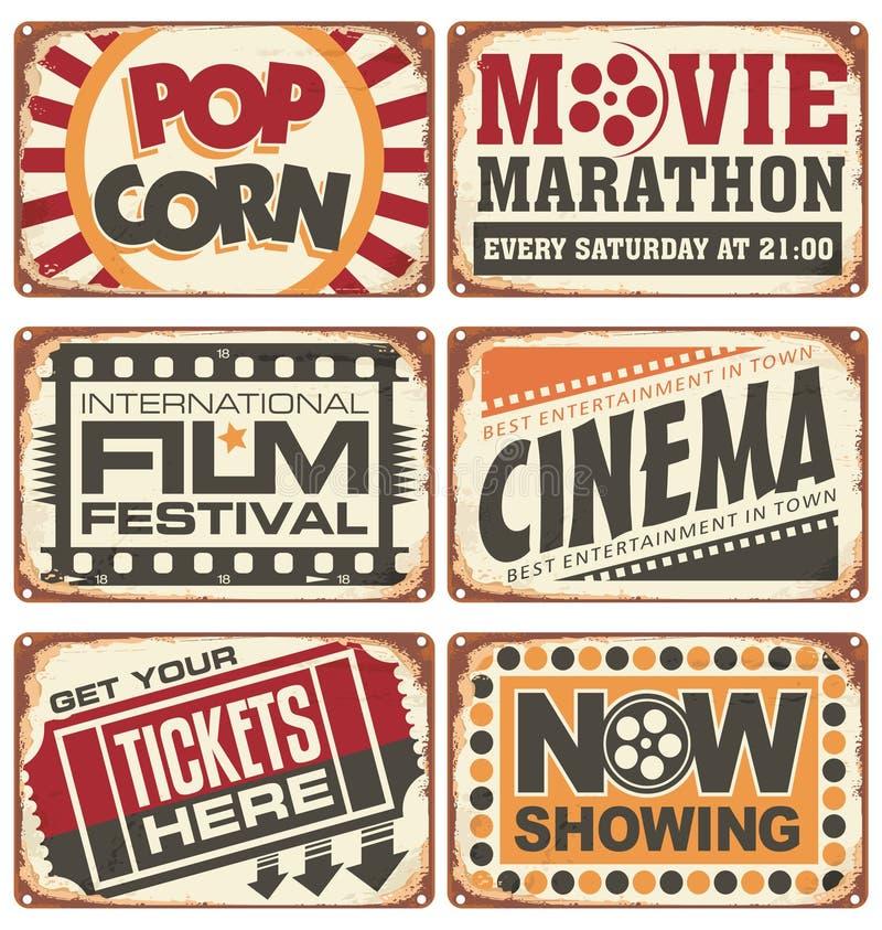 Insieme dei segni d'annata del metallo del cinema illustrazione di stock