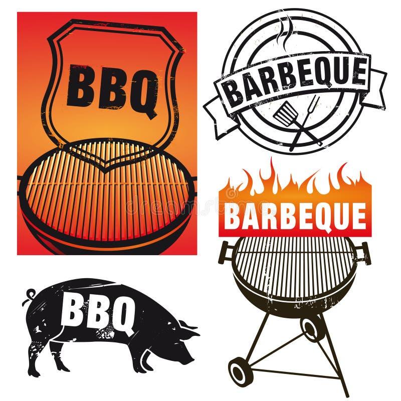 Insieme dei segni del barbecue royalty illustrazione gratis