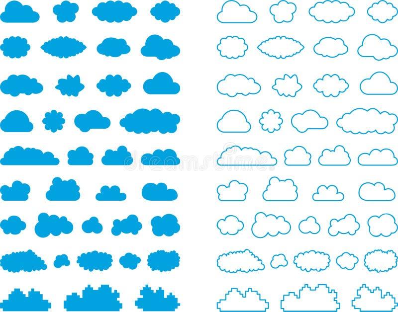 Insieme dei segni della nuvola illustrazione di stock