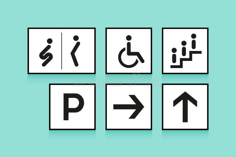 Insieme dei segni di navigazione Toilette delle icone o WC, freccia e scala mobile su fondo bianco Illustrazione di vettore royalty illustrazione gratis