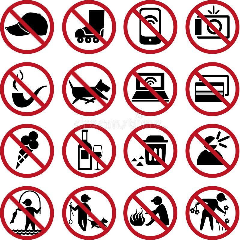 Insieme dei segni di proibizione royalty illustrazione gratis