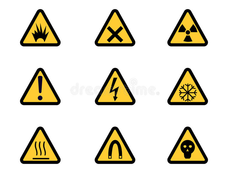 Insieme dei segni di rischio d'avvertimento triangolari royalty illustrazione gratis