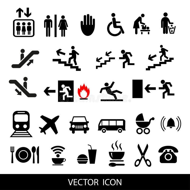 Insieme dei segni di servizio internazionale illustrazione vettoriale