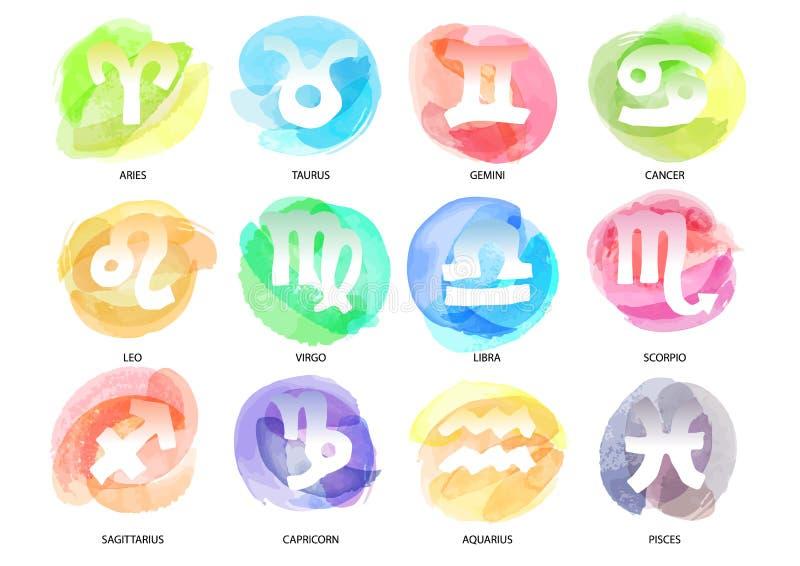 Insieme dei segni disegnati a mano dello zodiaco della spazzola dell'acquerello Illustra di vettore illustrazione vettoriale