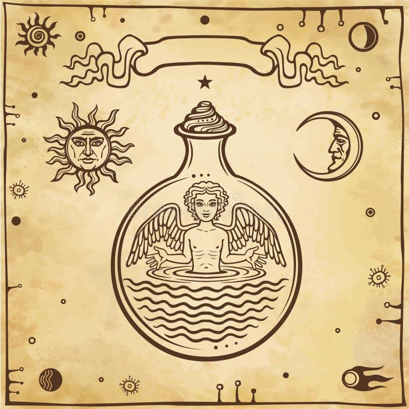 Insieme dei simboli alchemical Bambino in una provetta, l'omuncolo, reazione chimica royalty illustrazione gratis