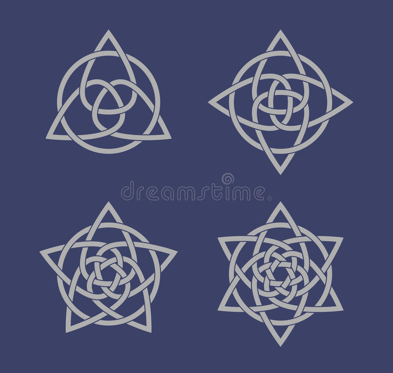 Insieme dei simboli celtici del nodo royalty illustrazione gratis