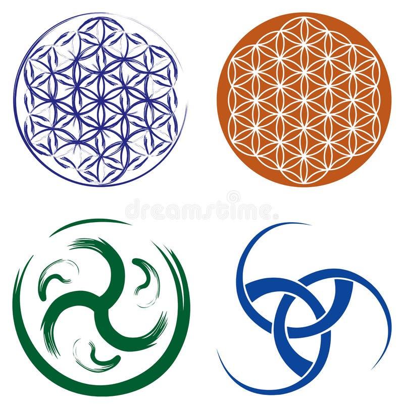 Insieme dei simboli celtici e fiore di vita   royalty illustrazione gratis