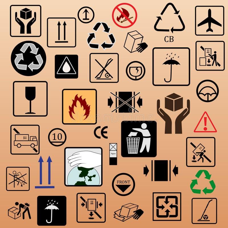 Insieme dei simboli dell'imballaggio royalty illustrazione gratis