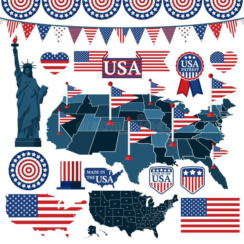 Insieme dei simboli, delle bandiere e delle mappe di U.S.A. con gli stati illustrazione di stock