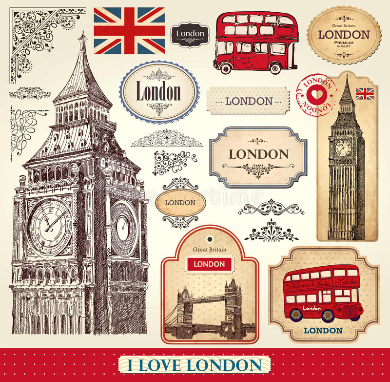 Insieme dei simboli di Londra royalty illustrazione gratis