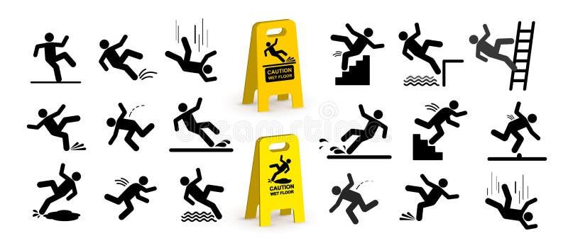 Insieme dei simboli di cautela con la figura caduta del bastone dell'uomo Cadendo le scale e sopra il bordo Pavimento bagnato, sc illustrazione vettoriale