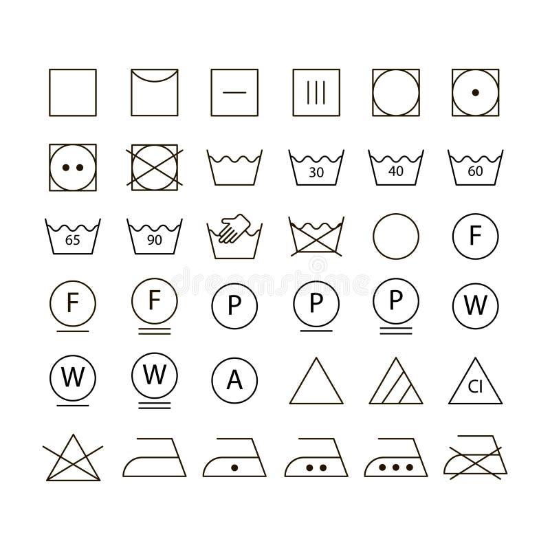 Insieme dei simboli di lavaggio fotografie stock libere da diritti