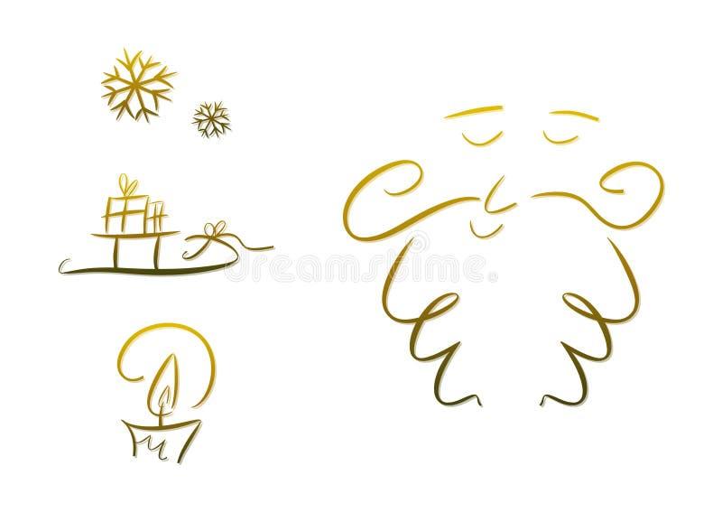 Insieme dei simboli di natale (oro) royalty illustrazione gratis