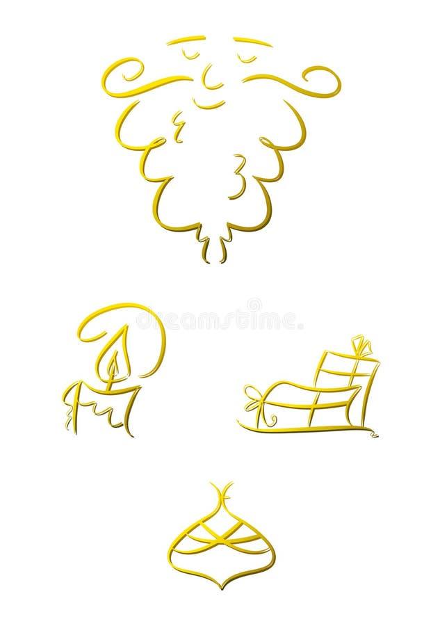 Insieme dei simboli di natale (oro) illustrazione vettoriale