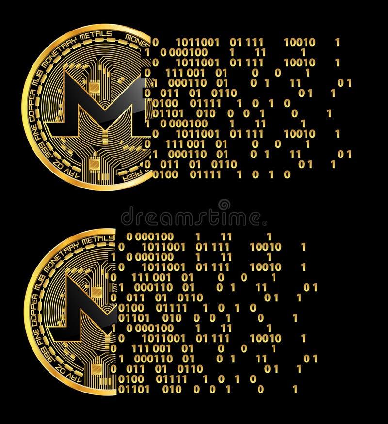 Insieme dei simboli dorati di monero cripto di valuta royalty illustrazione gratis