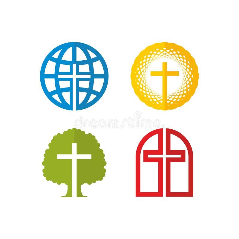 Insieme dei simboli e dei segni cristiani royalty illustrazione gratis