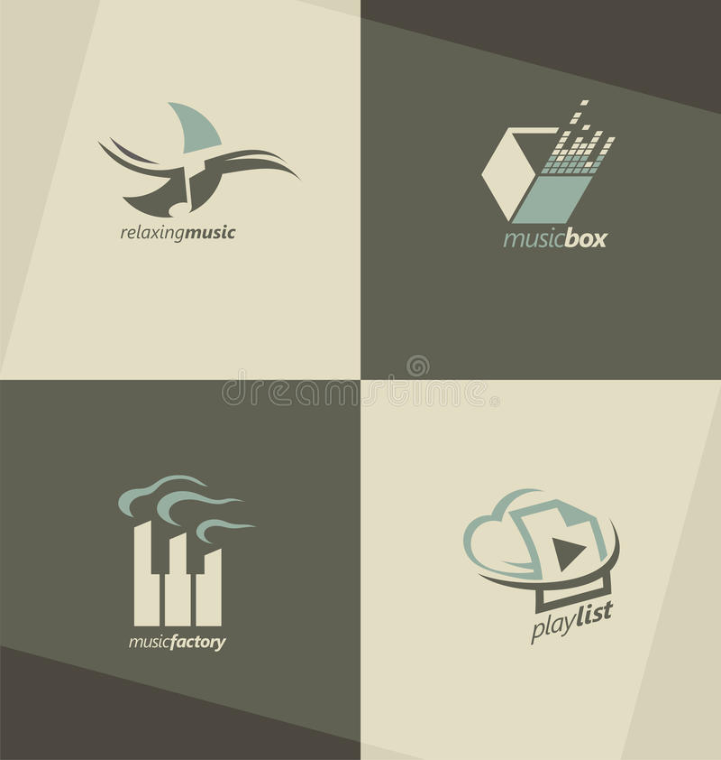 Insieme dei simboli musicali, del logos e delle icone royalty illustrazione gratis
