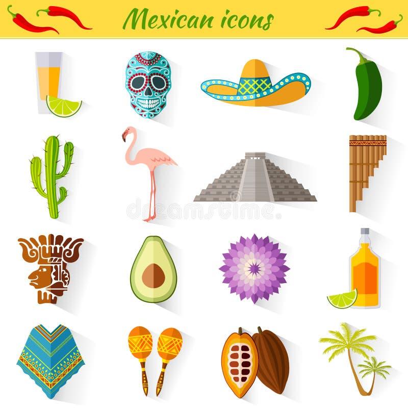 Insieme dei simboli nazionali tradizionali del Messico illustrazione di stock